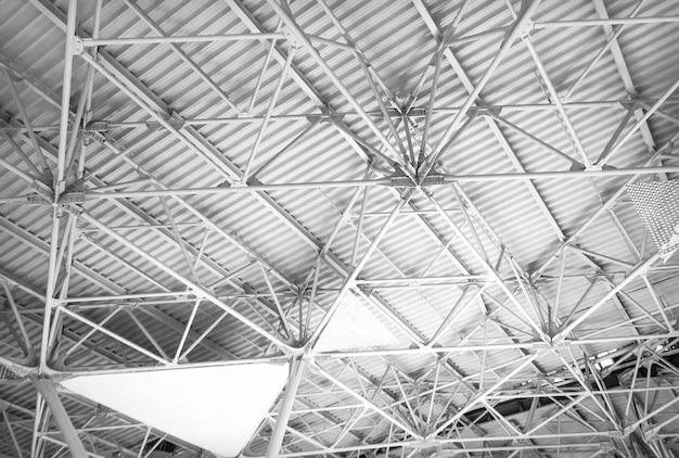 Industrial building with metal steel ceiling