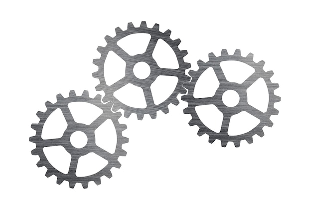 Industrial cogs stainless steel with connect, isolated on white wall