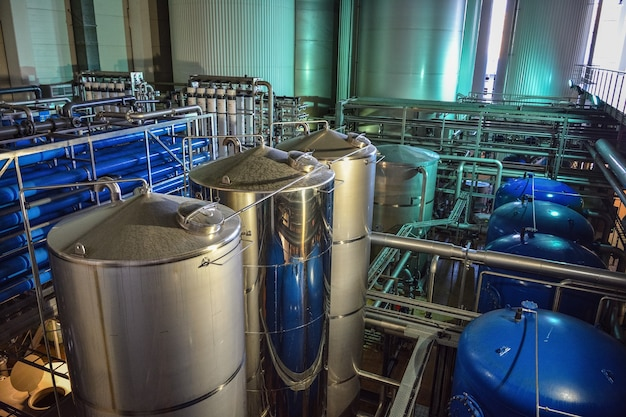 Industrial equipment in the brewery workshop, distilled water tanks in the brewery