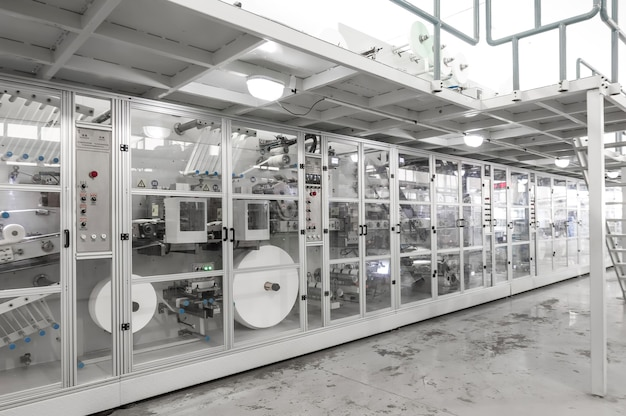 Industrial factory plant for the production of paper packaging