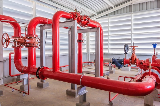 Industrial fire pump station for water sprinkler piping and fire alarm control system.
