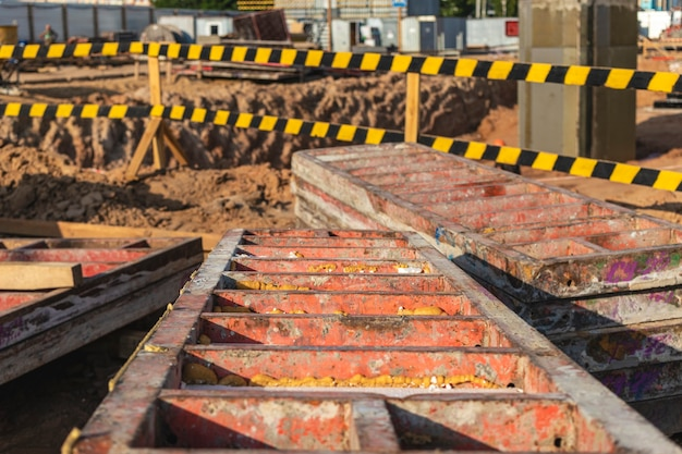 Industrial formwork for concrete foundations. construction site. construction equipment. monolithic work with reinforced concrete.