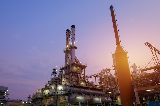 Industrial furnace cracked hydrocarbon in petrochemical business on sunset sky background