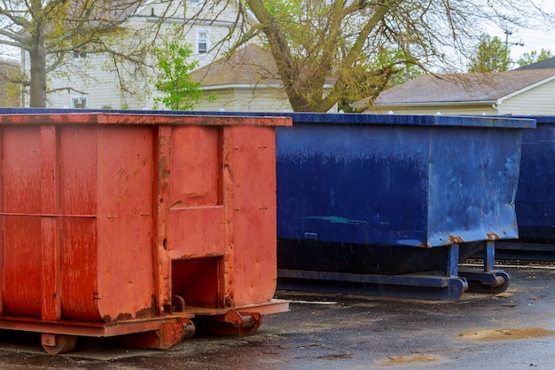 Industrial garbage container on construction site