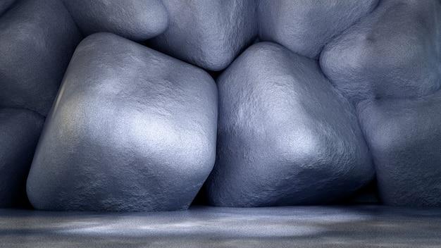 石とコンクリートの質感を持つ工業用グランジインテリアスタジオ。 3dイラスト、3dレンダリング。