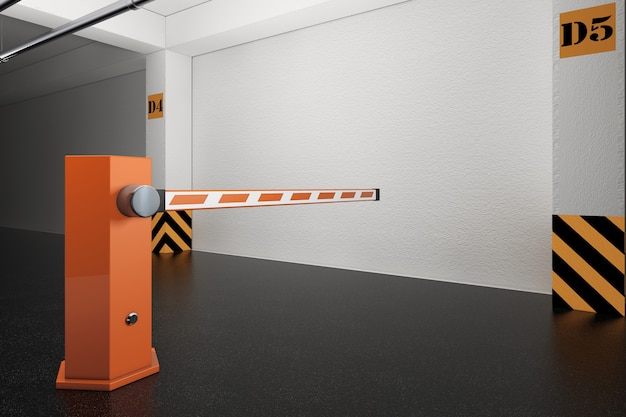 Industrial interior concept. barrier on departure from underground parking garage extreme closeup. 3d rendering.