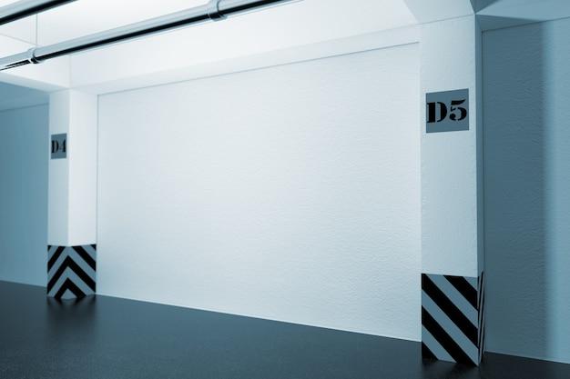 Industrial interior concept. empty underground parking garage in blue key. 3d rendering.