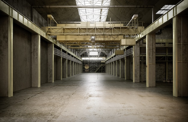 오래 된 공장 건물의 산업 인테리어입니다. 3d 렌더링