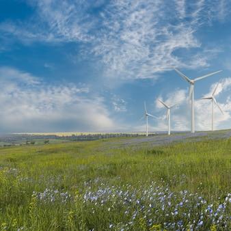 フィールドに風力タービン、再生可能なエコエネルギー、電気風車がある産業景観