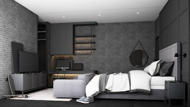 Промышленный дизайн интерьера спальни лофта с серой мебелью, кроватью, диваном, рабочим столом и шкафом для телевизора с кирпичной стеной и бетонным полом, 3d-рендеринг
