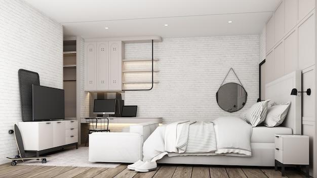 Промышленный дизайн интерьера спальни лофта с белой мебелью, кроватью, диваном, рабочим столом и шкафом для телевизора с кирпичной стеной и бетонным полом, 3d-рендеринг