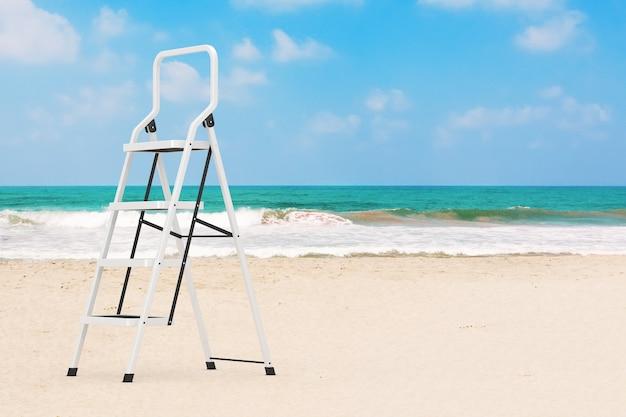 Промышленная металлическая лестница экстремальный крупный план на фоне песчаного пляжа океана. 3d рендеринг