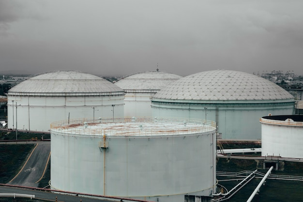 Industrial oil tanks in a stock oil and gas.