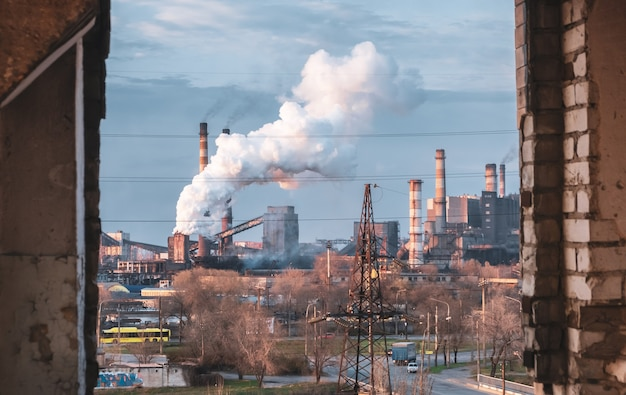 산업 공장 공장 연기 대기 오염 글로벌 경고 굴뚝 흡연