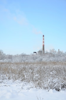 The industrial plant is located behind the swampy terrain, covered with snow