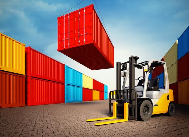 Промышленный порт с контейнерами и вилочным погрузчиком