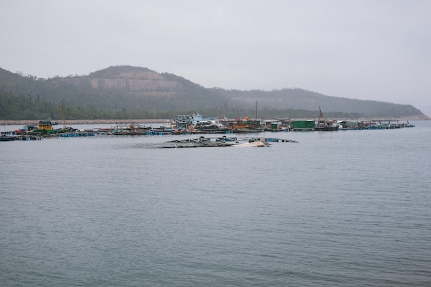 Industrial port with poor bungalows