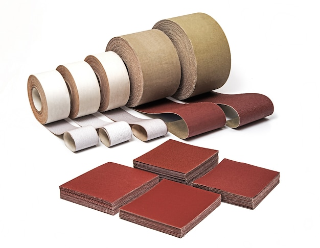 Industrial sanding belts, sand papers in rolls and sandpaper sheets