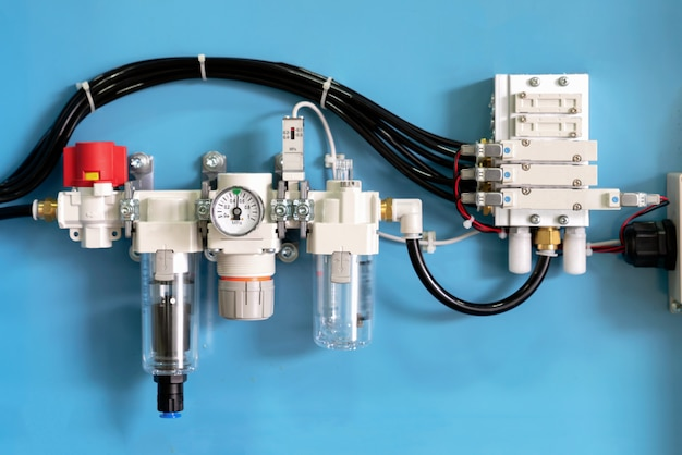 Industrial solenoid valve with pneumatic pipe line machine. control valve by electric equipment