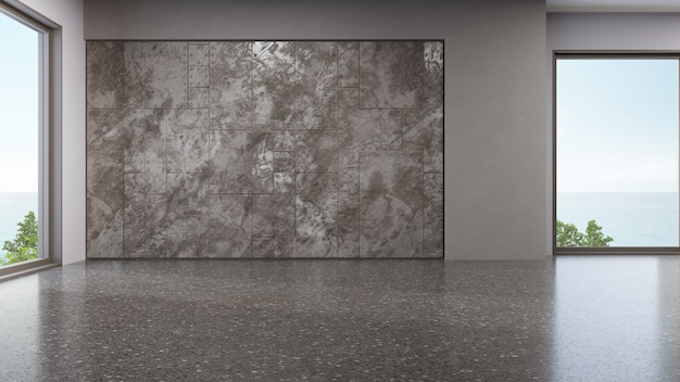 Дизайн интерьера современного выставочного зала в индустриальном стиле с пустым полом из терраццо