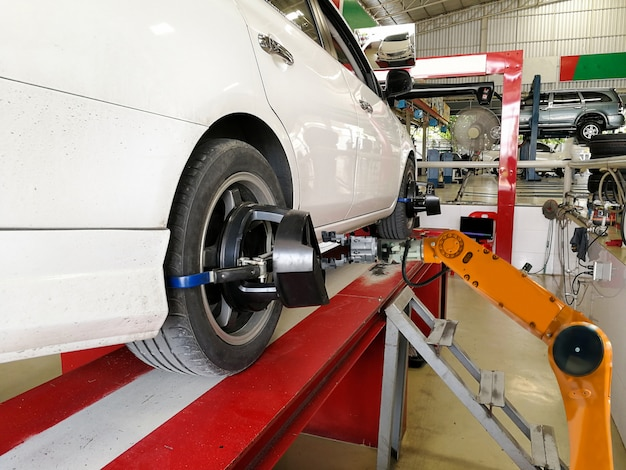 Industrial and technology robotic arm car repair