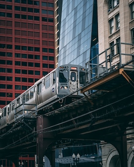 Industrial view of an elevated subway train in chicago