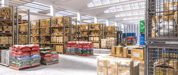 Industrial warehouse with shelves full of different goods.