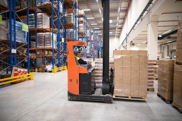 Industrial worker in protective uniform operating forklift in big warehouse distribution center