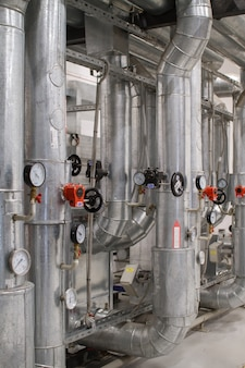 Industrial zone, steel pipelines and equipment, valves and sensors, ventilation system
