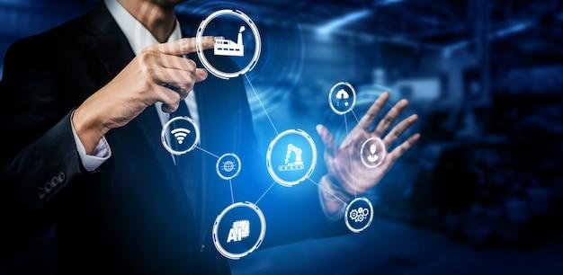 Концепция технологии индустрии 4.0. умная фабрика четвертой промышленной революции