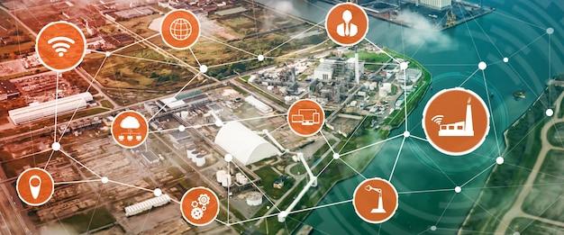 Industry 4.0 기술 개념. 4 차 산업 혁명을위한 스마트 팩토리