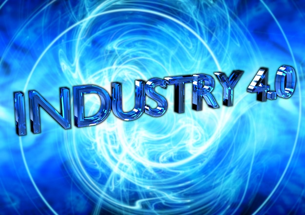 Industry 4.0 text, poster
