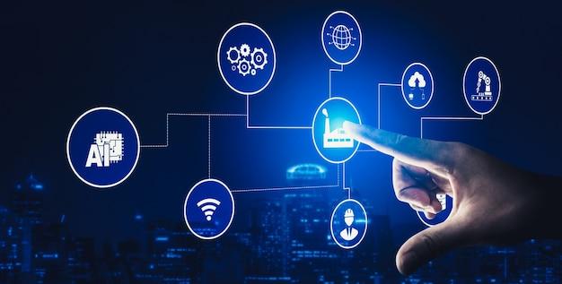 4 차 산업 혁명을위한 스마트 팩토리와 함께하는 산업 기술 개념
