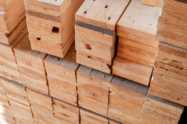 Industry wood processing material in warehouse for use on construction and make a furniture