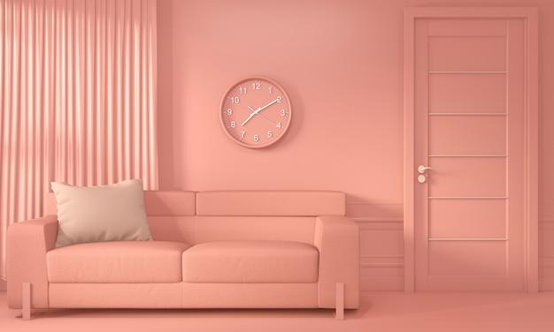 Гостиная коралловая комната inetrior с диваном и украшением цвета живого коралла в стиле. 3d рендеринг