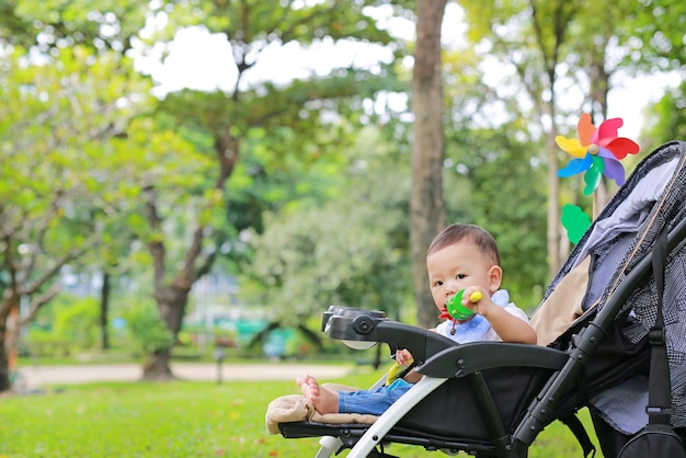 Infant baby boy playing toy in hand sitting on stroller in nature park.