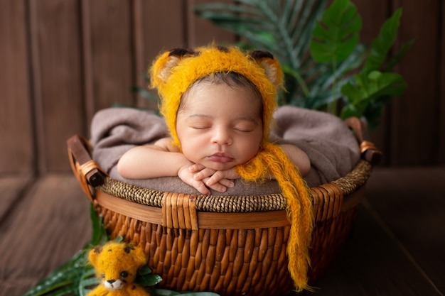 Infant sleeping pretty baby boy in yellow animal shaped hat and inside brown basket along with green leafs in wooden room