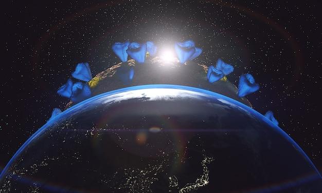 感染した地球のクローズアップと太陽
