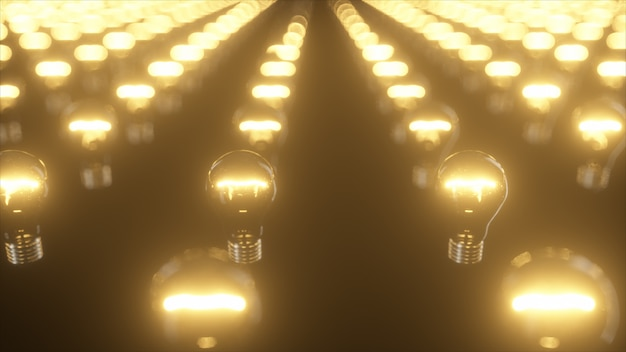 Infinite surface of flashing incandescent bulbs