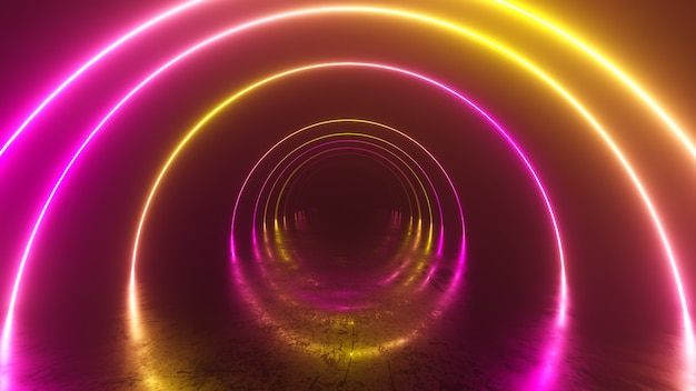 Infinity flight inside tunnel, neon light abstract background, round arcade, portal, rings, circles, virtual reality, ultraviolet spectrum, laser show, metal floor reflection. 3d illustration
