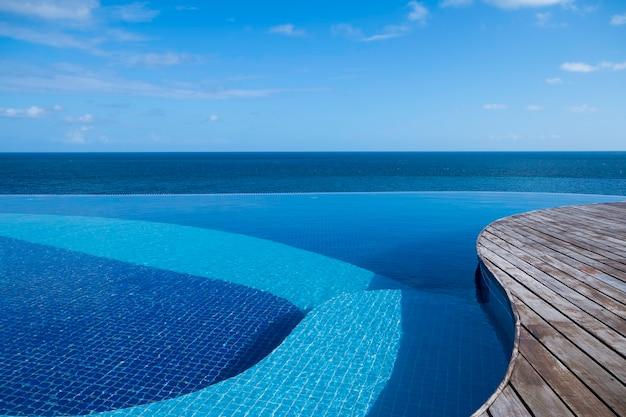 海と青い空の景色を望むインフィニティプール