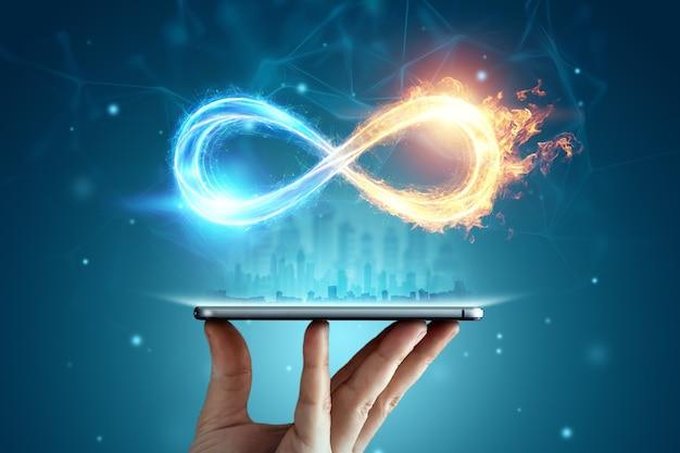 Infinity symbol over smartphone, fire ice symbol