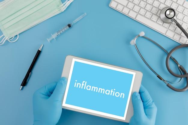 Воспаление концепция воспаления суставов врач здравоохранения медицинский отчет, лимфатические узлы, аллергии. дерматология.