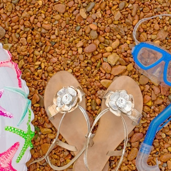 Inflatable baby circle Sandals Underwater mask snorkel, lie on the beach.
