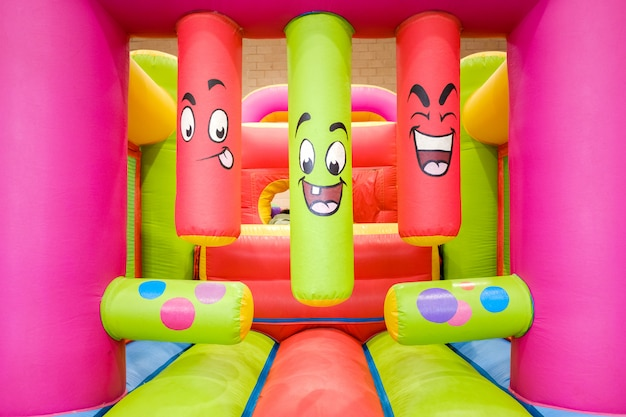 Inflatable castle to bounce and jump, with steps to climb.