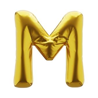 황금 색상의 풍선 편지 m. 귀하의 디자인에 대 한 황금 색상의 풍선 기호입니다. 3d 렌더링입니다.