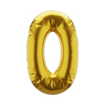 Надувная цифра 0 ноль в золотом цвете надувные символы золотого цвета для вашего дизайна