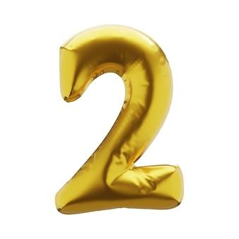 Надувная цифра 2 два золотистого цвета. надувные символы золотого цвета для вашего дизайна. 3d визуализация.