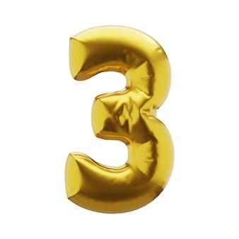 Надувная цифра 3 три в золотом цвете. надувные символы золотого цвета для вашего дизайна. 3d визуализация.
