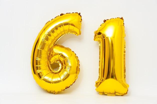 インフレータブル数字61スパークリングメタリックゴールデンカラー